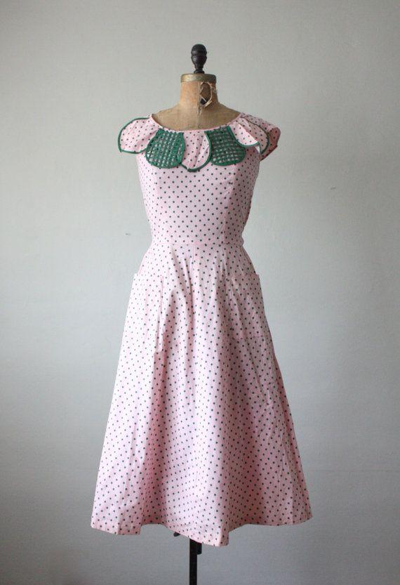 1950s dress - vintage 1950's pink garden dress