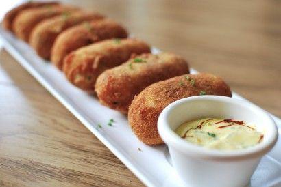 Croquetas de Chorizo...A potato croquette filled with chorizo and cheese.