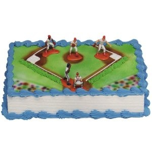 Baseball Cake idea: sides would be brown (chocolate frosting), crumb coat top with chocolate, then another layer of green for grass, thin tip for white areas, buy baseball figures OR make a cupcake for a large baseball and bat, add writing.