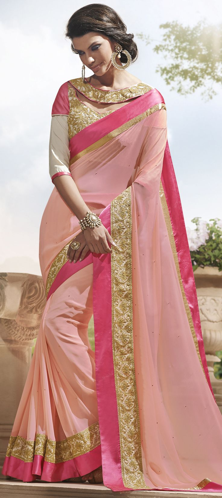 154793: Look at the designer blouse! Get this style in #saree for weddings and parties. #OnlineShopping #IndianFashion