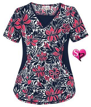 UA Tropical Delight Navy Print Scrub Top Style # STN868TN #uniformadvantage… Más