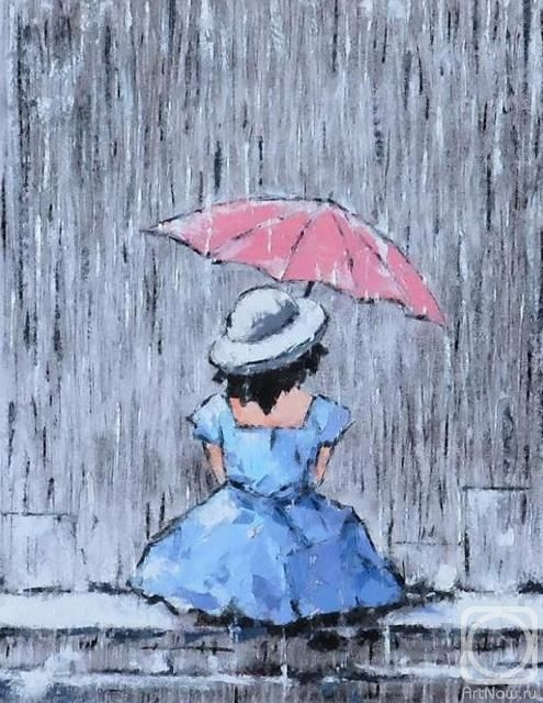 Рисунок девочка под дождем с зонтиком, новый год своими