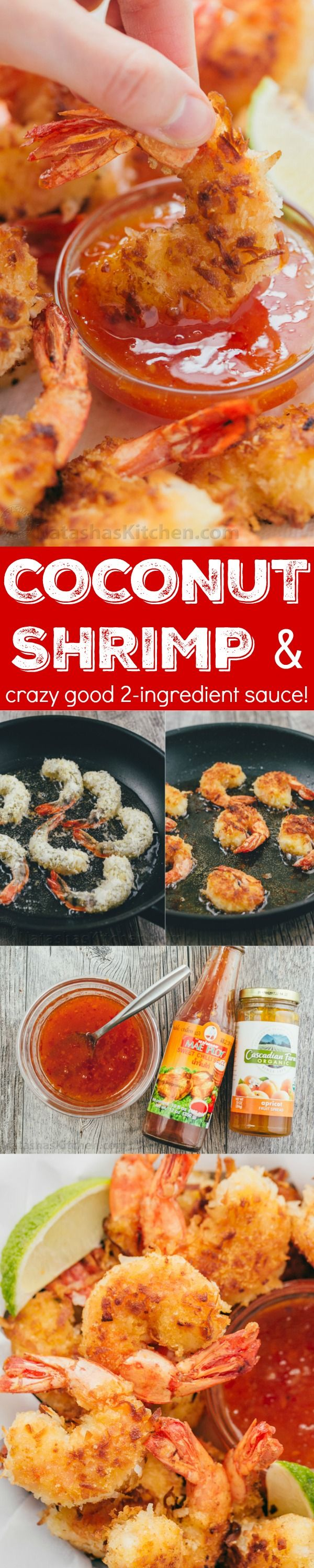 These Coconut shrimp are coated in plenty of coconut for superior crunch and subtle tropical flavor. The 2 ingredient dipping sauce for coconut shrimp will win you over and it's so easy! | http://natashaskitchen.com