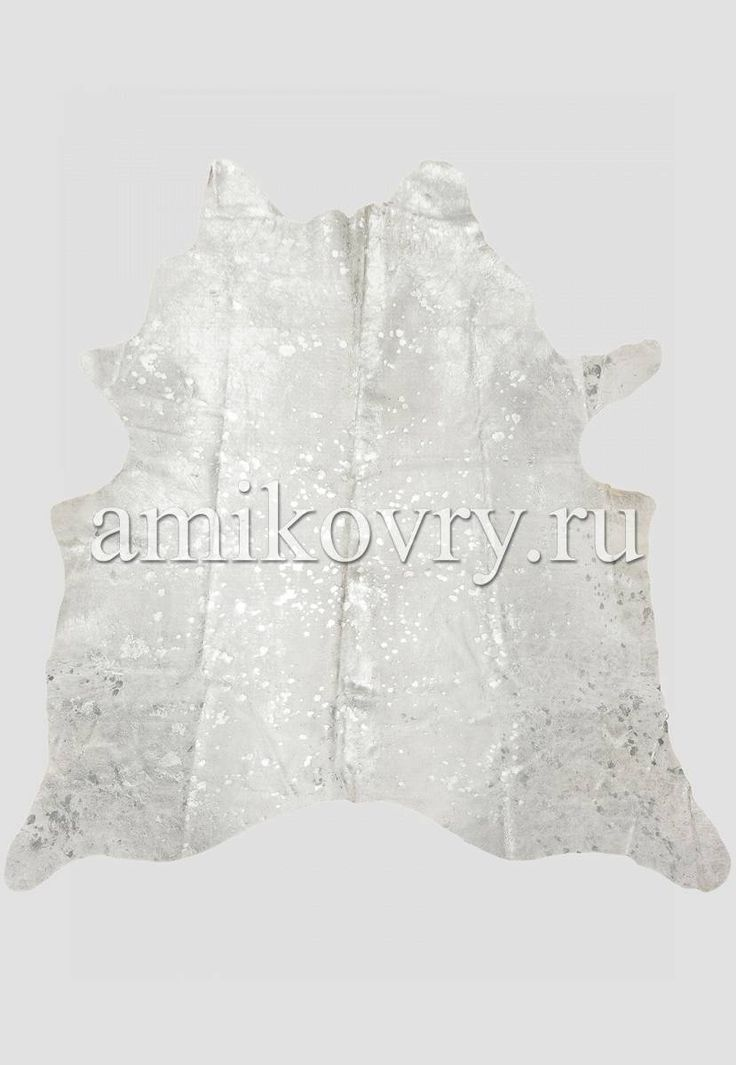 Натуральная шкура коровы хай-тек Серебро на белом - Ами Ковры - интернет магазин ковров