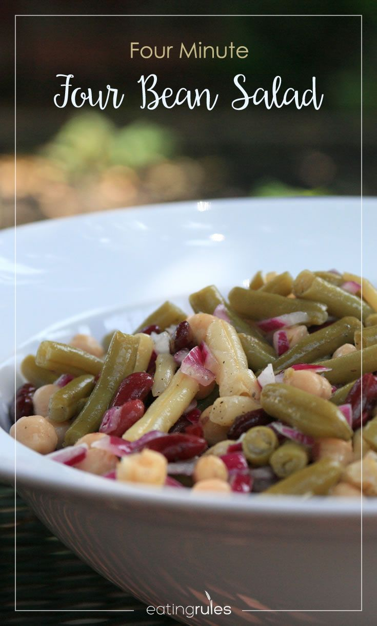 This super-simple four bean salad recipe, which takes just about four minutes to make. Really.