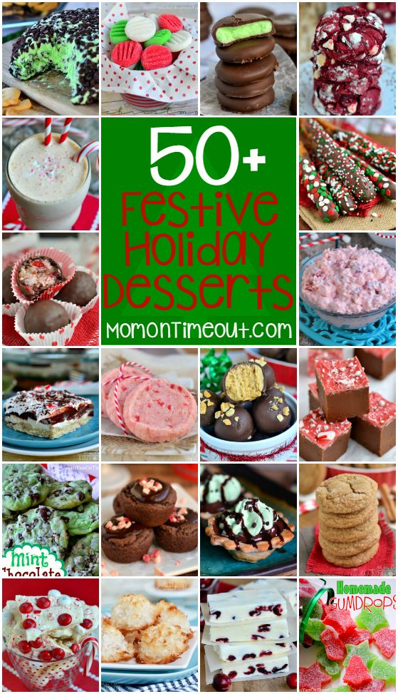 Candy, fudge, cookies, pie and so much more! 50 Festive Holiday Desserts just in time for Christmas! | MomOnTimeout.com | #roundup #christmas #desserts