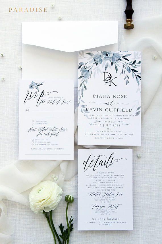 Skyla Dusty Blue Wedding Invitation Sets Printable