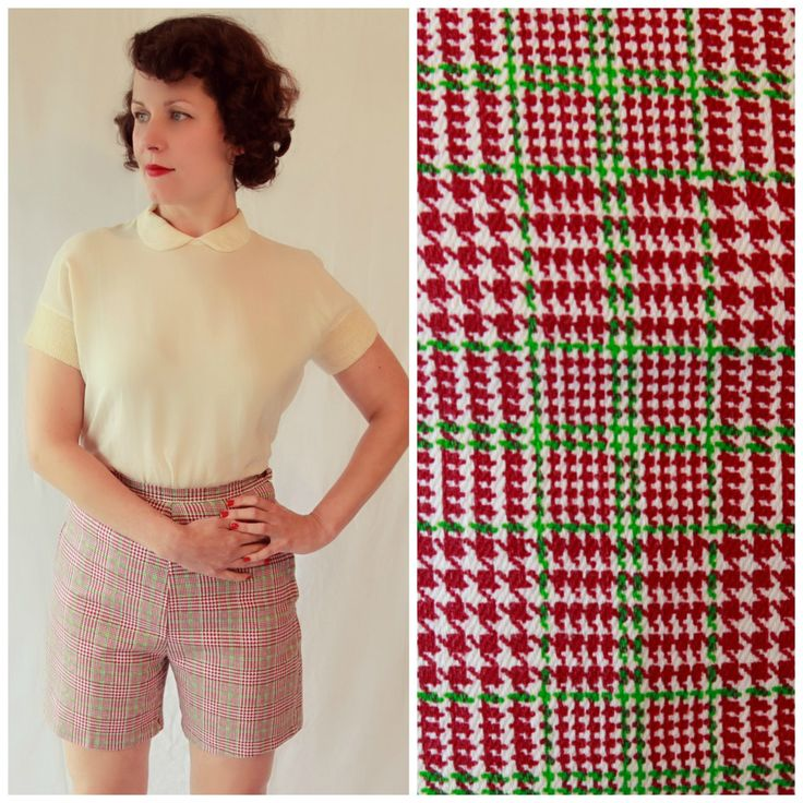 Fantastic Vintage High Waist 1950s Checked Pin-up Shorts by fridalarsensvintage on Etsy