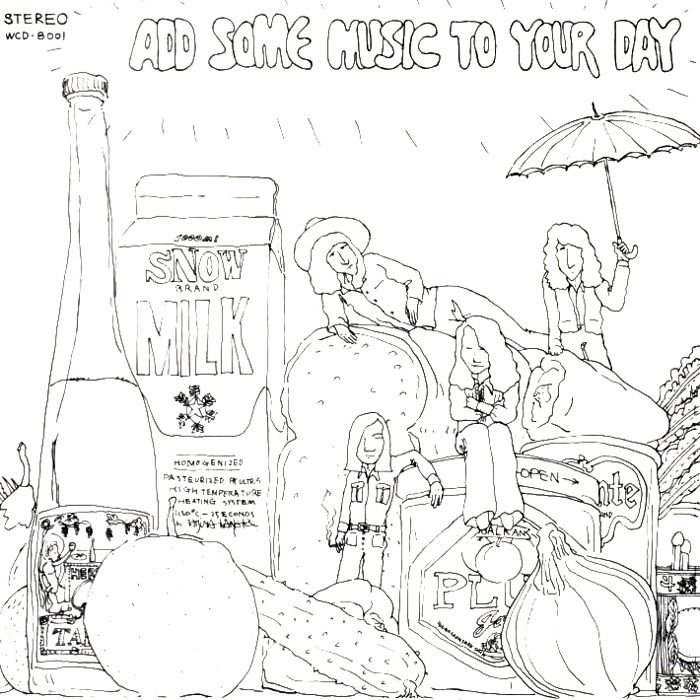 "Tatsuro Yamashita(山下達郎)""ADD SOME MUSIC TO YOUR DAY"" Indies Studio Recordings, 1972, Jacket Design& Illustration: 金子辰也, Recording Member: 山下達郎(vocal, acoustic guitar, drums, percussion & Toys), 鰐川己久男(vocal, electric bass, electric guitar, acoustic guitar), 並木進(vocal, electric bass, washtub bass, acoustic guitar), 武川紳一(vocal, keyboard, electric bass, electric guitar & toys), Support Member / 石川知行(electric guitar, glocken, chorus), 金子辰也(cans, chorus), 沖啓介(keyboard, spoon, chorus), 村松邦男(chorus)"