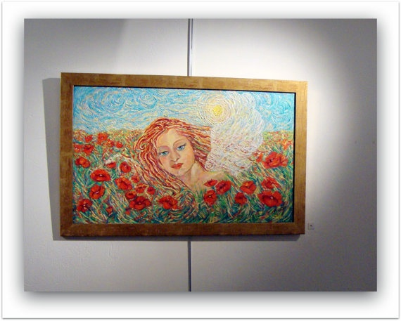 Oil on canvas,The Angel of Spring.original 75x46 cm.