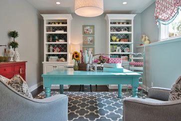 Home Office - using bright colors makes this space so cheerful