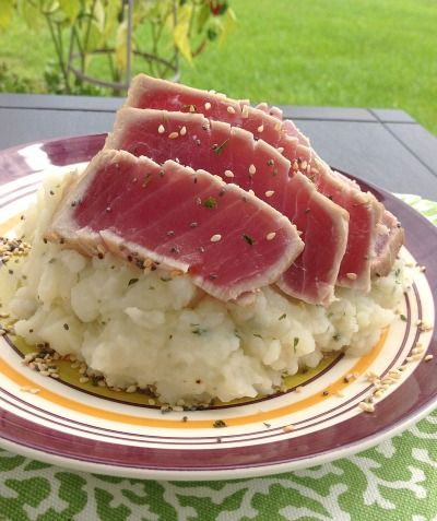Sesame Seared Tuna and Wasabi Mashed Potatoes - Peas And Crayons