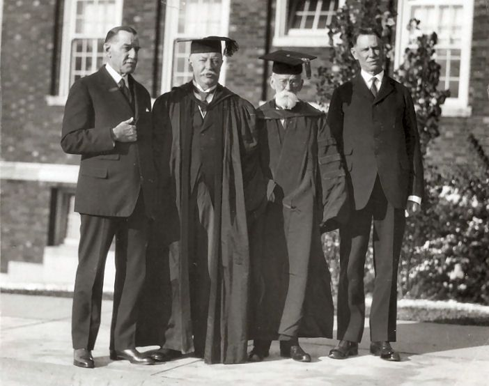 Taken on November 2, 1925 at the dedication of the Alfonso Taft Law College at the University of Cincinnati. From left to right is New York attorney Henry W. Taft, Chief Justice and 27th President of the United States William Howard Taft, Cincinnati Times-Star owner Charles P. Taft, and Forrest D. Taft, head master of the Taft School at Watertown, Connecticut.