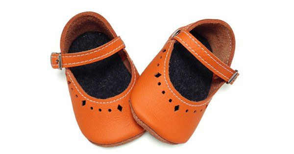 Etsy find of the day – orange leather baby shoes