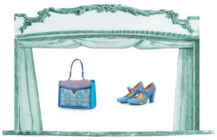 Sfere alchemiche collection spring summer 2015: scarpa e borsa Sole