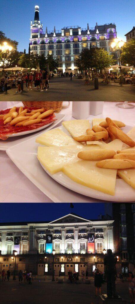 Plaza de Santa Ana, que tem numa das pontas o imponente Hotel Reina Victoria e na outra o tradicional Teatro Español - no prato os tradicionais jamón, queijo manchego e os picos.