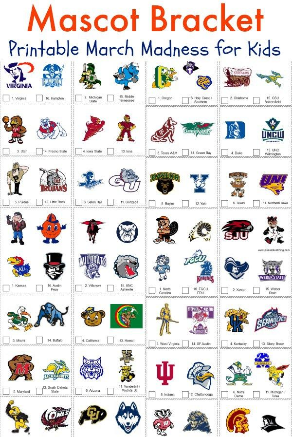 Printable March Madness Mascot bracket for kids. A FUN way for kids to get in on the March Madness fun!