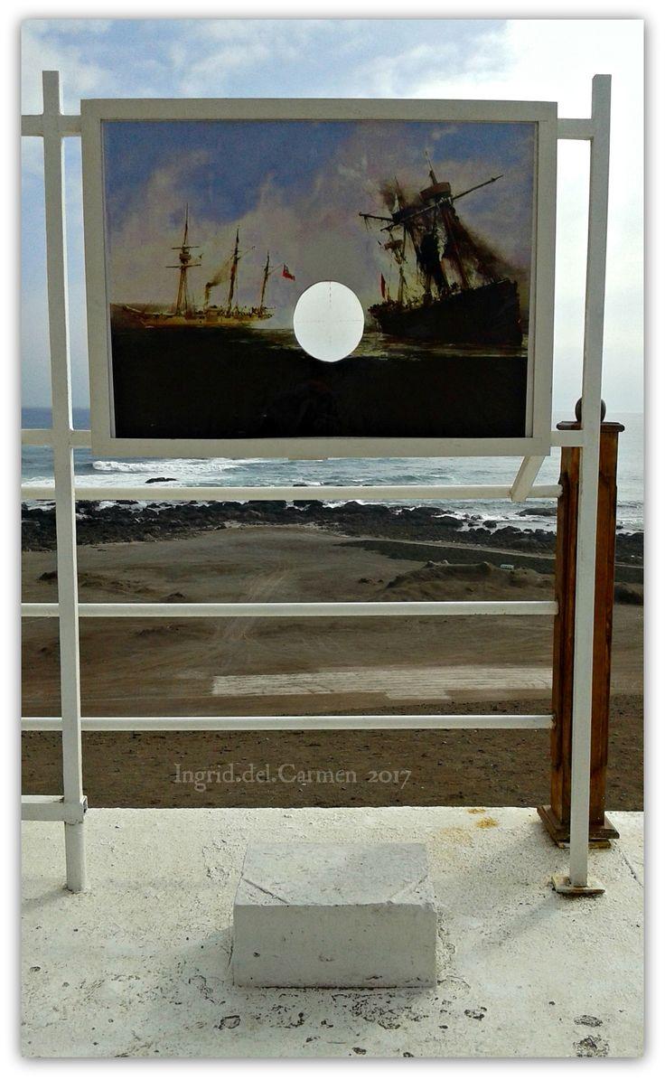 """Lugar señalado por la Armada de Chile en que encalló el buque peruano """"Independencia"""", en Punta Gruesa, Iquique, el 21 de Mayo de 1879, durante su persecución hacia la goleta """"Covadonga""""."""