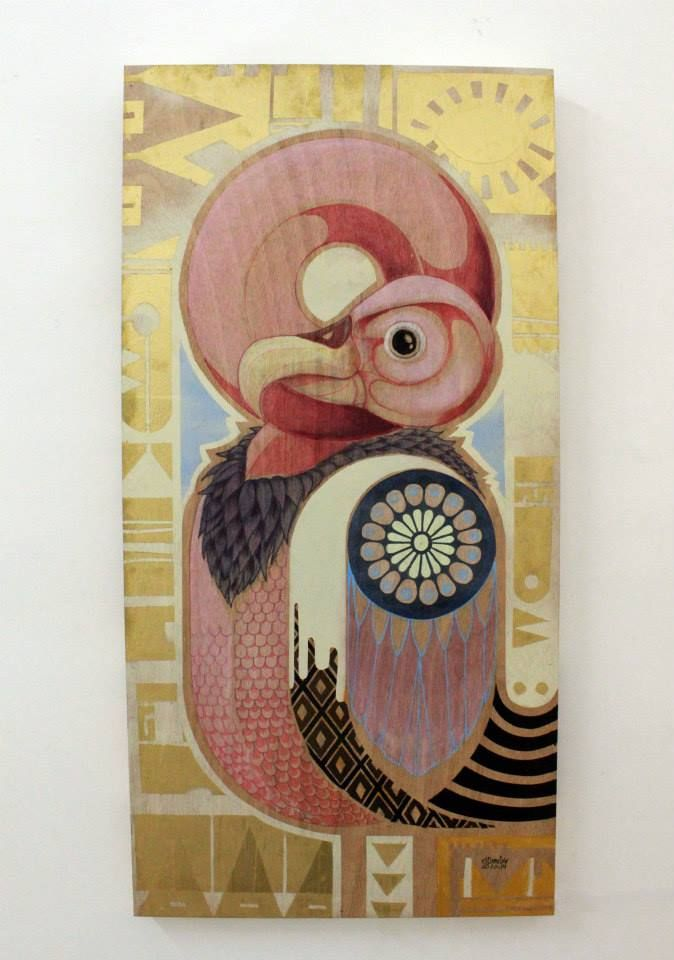 """""""PINK BUITRE"""" by elDIMITRY  42x84cm, mixed techique on wood, solo show at Fousion Gallery Barcelona 2014 exhibited till 28. FEB 2015  available at Fousiongallery.com"""