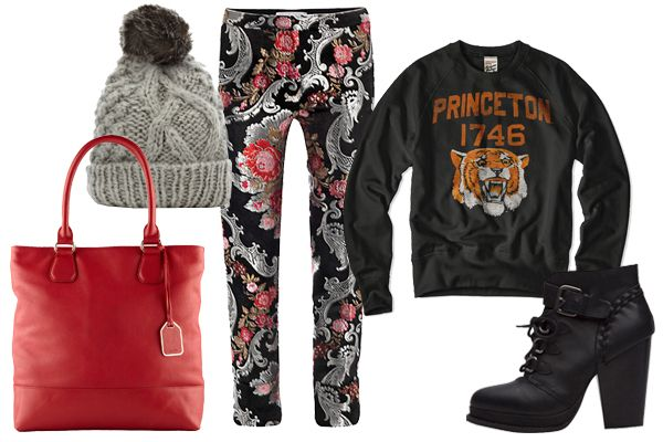 cute outfit incorporating college sweatshirt