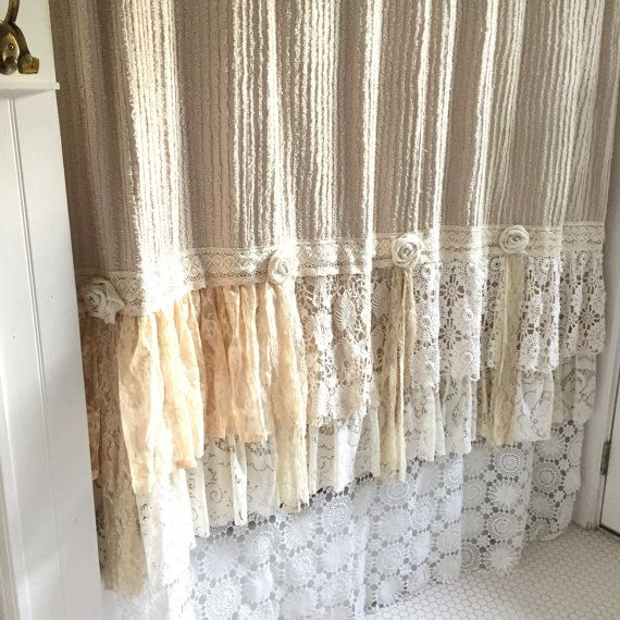 Shabby Cottage Chic Shower Curtain Tan Chenille by FarmHouseFare