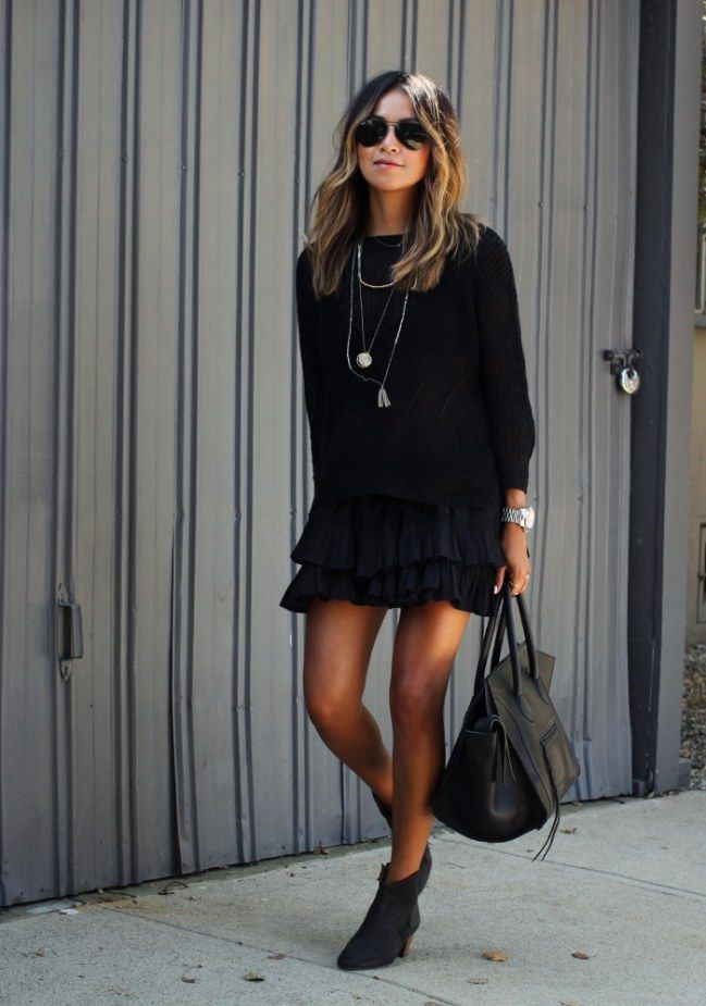 ber ideen zu schwarzer rock outfits auf pinterest rock outfits lange jansr cke und. Black Bedroom Furniture Sets. Home Design Ideas