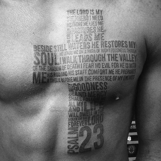 40 Psalm 23 Tattoo Designs For Men                                                                                                                                                                                 More