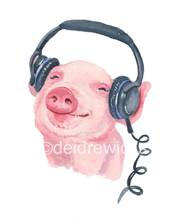 Pig Watercolor - Piglet Watercolour PRINT, 8x10 Illustration, Nursery Art, Music Animal, Pig Painting
