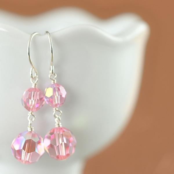 ON SALE Light Pink Swarovski crystal earrings (only pair)
