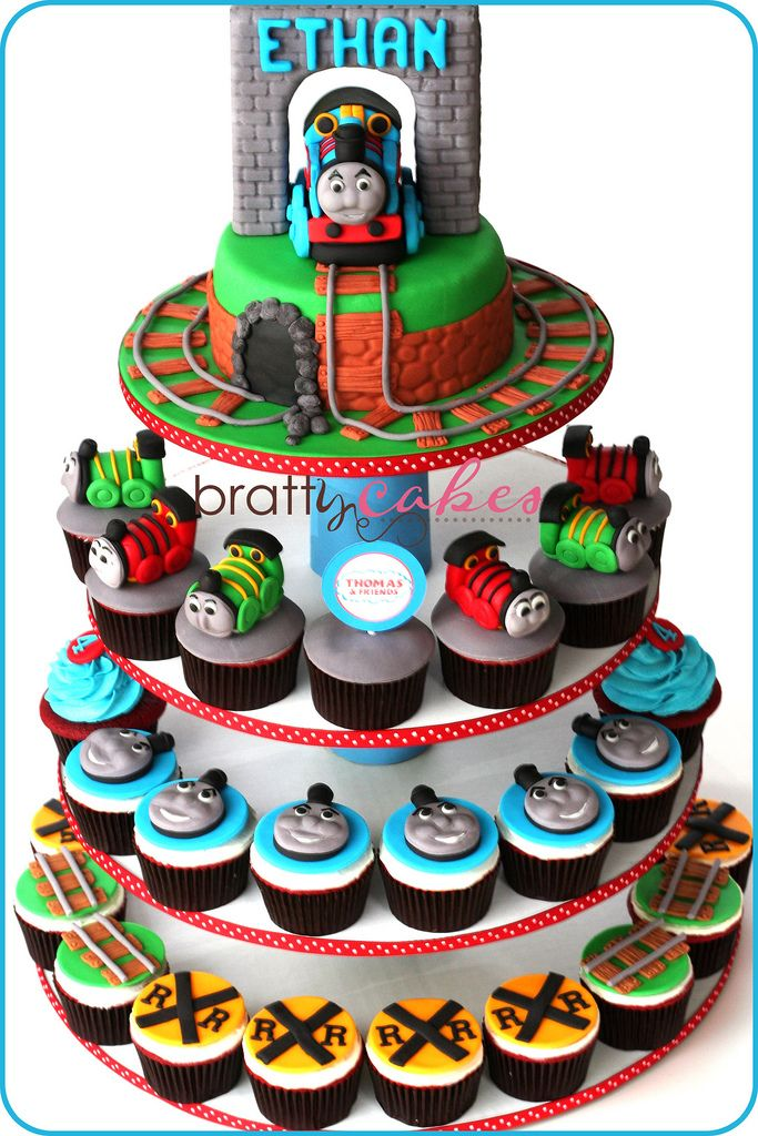 https://flic.kr/p/8Pqe6S | Thomas and Friends Cupcake Tower | Made for a little boy's 4th bday!