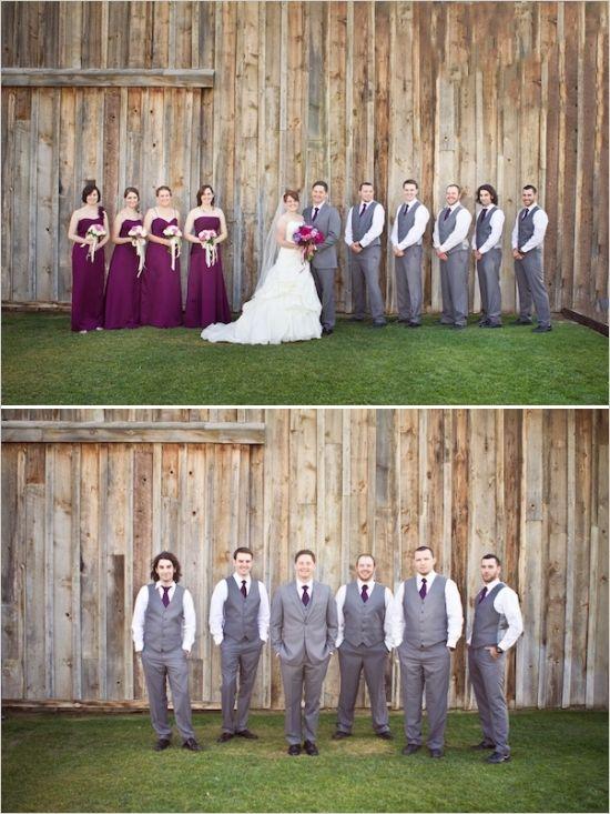 purple and grey wedding party #purpleweddingideas #graysuits #weddingpartty http://www.weddingchicks.com/2014/01/14/deep-purple-wedding/