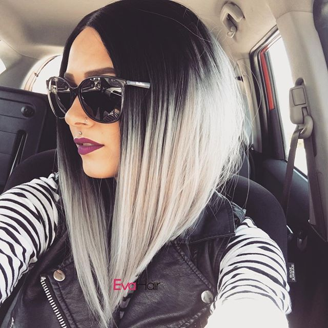 Wow, how cool and gorgeous girl in her Grey Ombre wig.💃💃 This wig looks well on her, can't believe it is a wig, nearly a real.💖💖💖 Wig SKU: NS-004. Girls, do you love it? #greyhair #holidaygift #christmas #sales #evahair #evahairofficial #syntheticwig #curlyhair #colorfulhair #curlywig #lacefrontwig #longhair #biggestsales #fashion