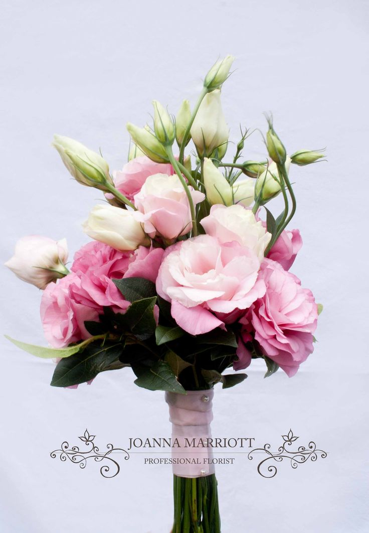 Pink Bridesmaids' Bouquet, pink lisianthus/ eustoma