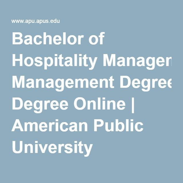 Bachelor of Hospitality Management Degree Online | American Public University