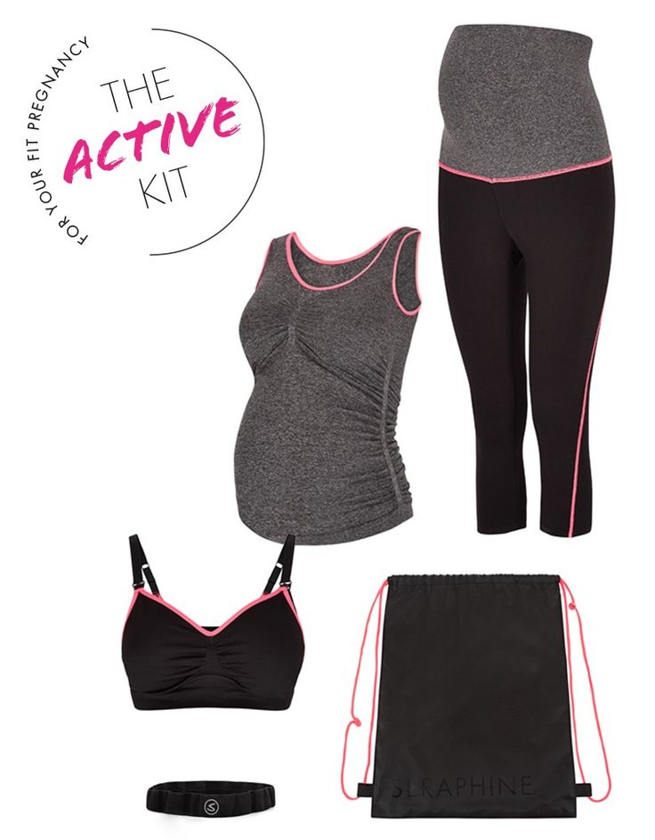 Maternity & Nursing sports bra   Maternity tank top   Maternity workout pants   Matching headband   Comes in a drawstring gym bag     Looking for maternity workout clothes? Get moving with the Seraphine Active Kit! Featuring 4 essential maternity activewear styles for keeping fit and looking fabulous through pregnancy, this kit is a must-have.   The Sports Bra  offers great support, a comfy seamless fit and easy access for nursing. Adjustable straps provide a flexible fit and can be…
