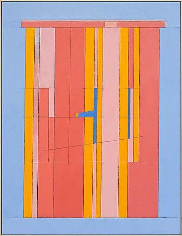 Irma Salo Jæger <em>Rosa mellomrom til blått</em><br />tempera og olje på lerret, 146x112 cm
