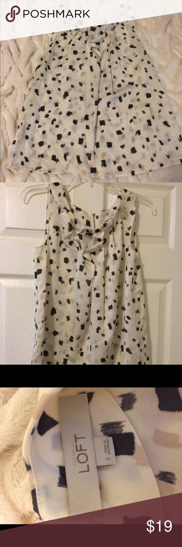 NWOT Anne Taylor Loft top Sleeveless Anne Taylor Loft top. Cream Black and Tan design. 100% polyester. Never worn. LOFT Tops