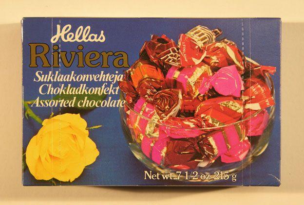 Hellas Riviera -suklaakonvehteja 70-luvulta.