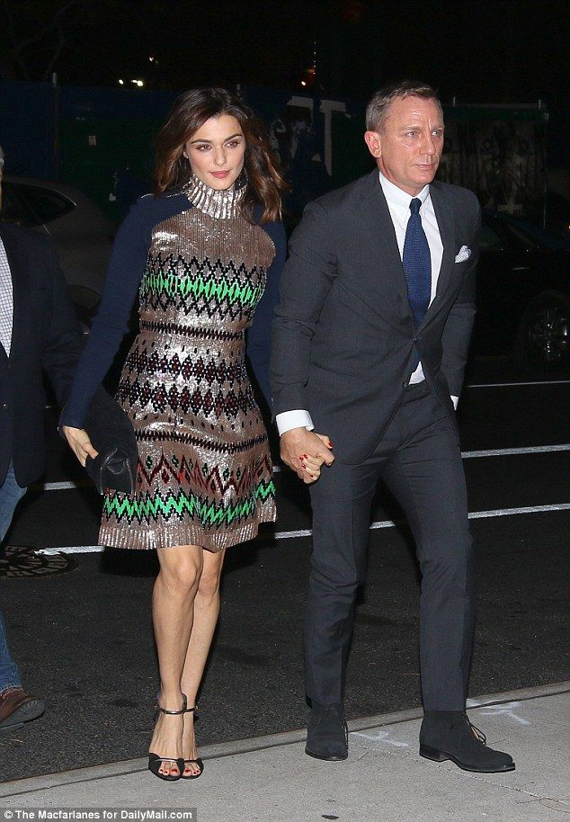 Paving the way: Rachel Weisz and Daniel Craig were leading the celebrity arrivals at late Hollywood director Mike Nichols' memorial event, held at the IAC building in New York City  on Sunday