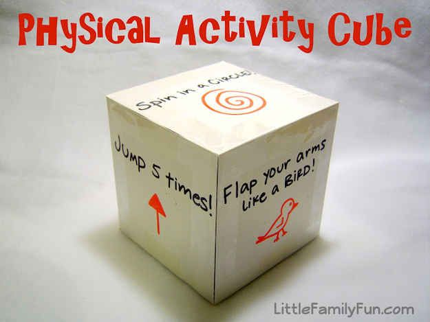 Make a physical activity cube for restless kids.