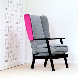 Wingback chair in Houndstooth fabric. Pink velvet. | Furniture Upholstery in Taranaki, New Plymouth