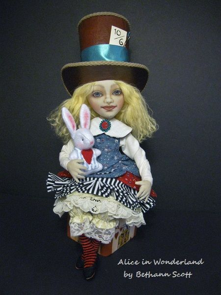 Alice in Wonderland doll created by Bethann Scott during an online doll class with Angela Jarecki.