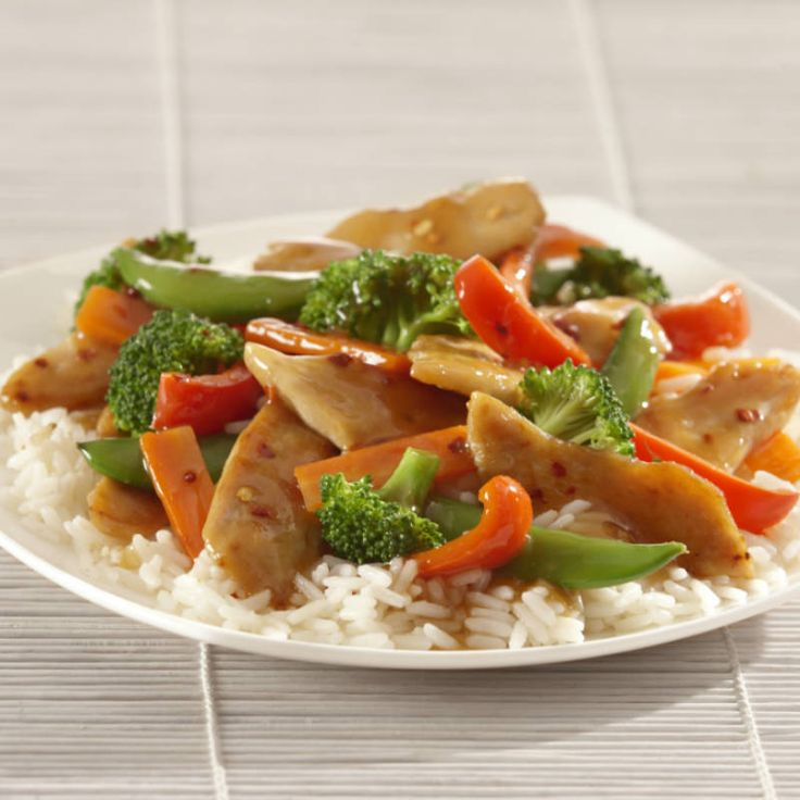 A stir-fry is a great way to incorporate more vegetables and less meat into your family's diet. This low fat recipe is full of bright color and texture from the vegetables and flavor from the ginger and soy stir-fry sauce.