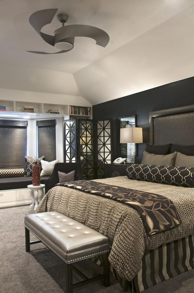 Transitional Bedroom - Chic Cozy Black Leather Headboard