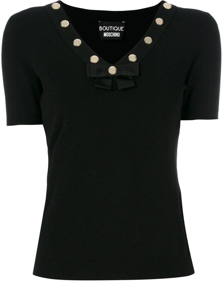Moschino V neck studded collar top