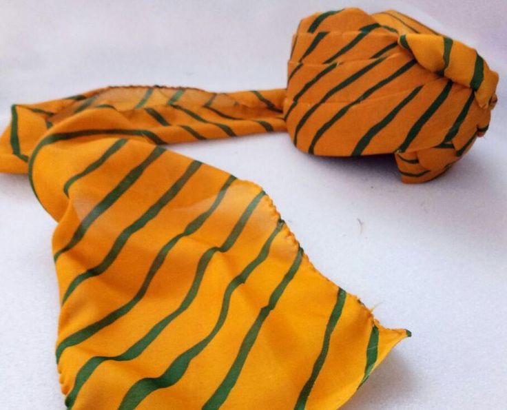 Rajasthani Safa Turban Headwear Hat Cap Ethnic Pagri for Men /Turban /Yellow-Green safa / Free Shipping by pinkcityhandmade on Etsy