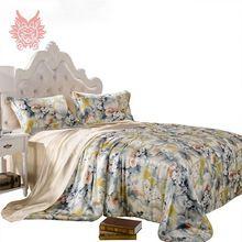 Домашний текстиль роскошные цветочные print16mm100 % шелк постельного белья, Пододеяльник наволочка постельные принадлежности лист total4pcs кровать SP1423(China (Mainland))