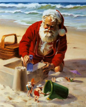 Santa Building a Sand Castle. Obviously on his visit to south of the equator. These are the other sort of cards we get in Australia - where it's summer at Christmas time.