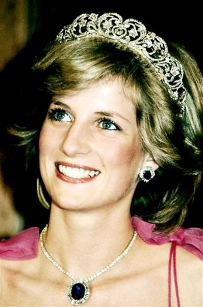 Princess Diana wears a suite of sapphire and diamond jewels presented by the Crown Prince of Saudi Arabia, and the Spencer family tiara.