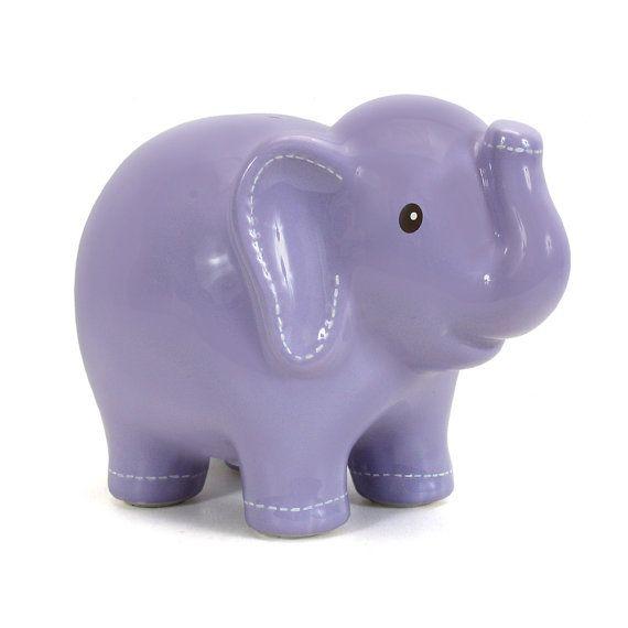 Personalized Lavender Large Elephant Piggy by KUTEKUSTOMKREATIONS